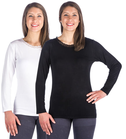 Women s Cool Knit Long Sleeve Layering T-Shirt - 2 Pack. 4 colors  available. Noble Mount 3f5b821fd