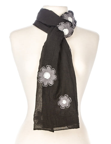 Embroidered Floral Spring Scarf