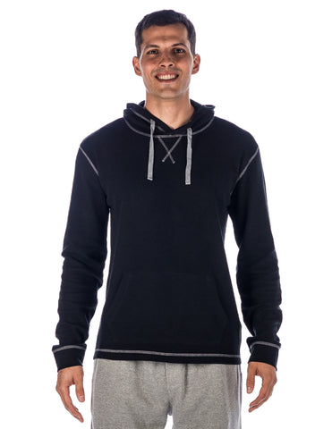 Men's Solid Thermal Lounge Hoodie - with Contrast Stitching