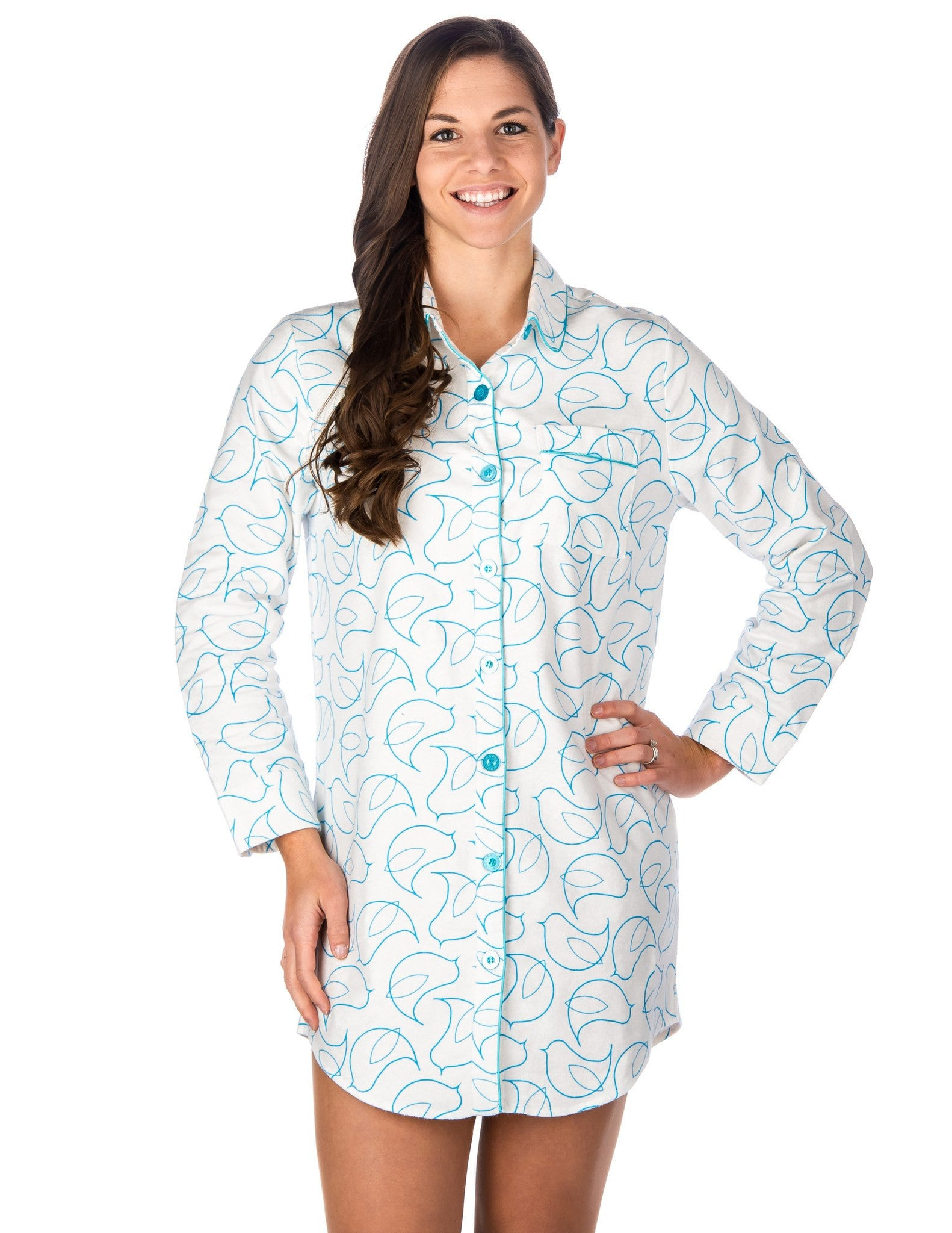 Women's Premium 100% Cotton Flannel Long Sleeve Sleep Shirt