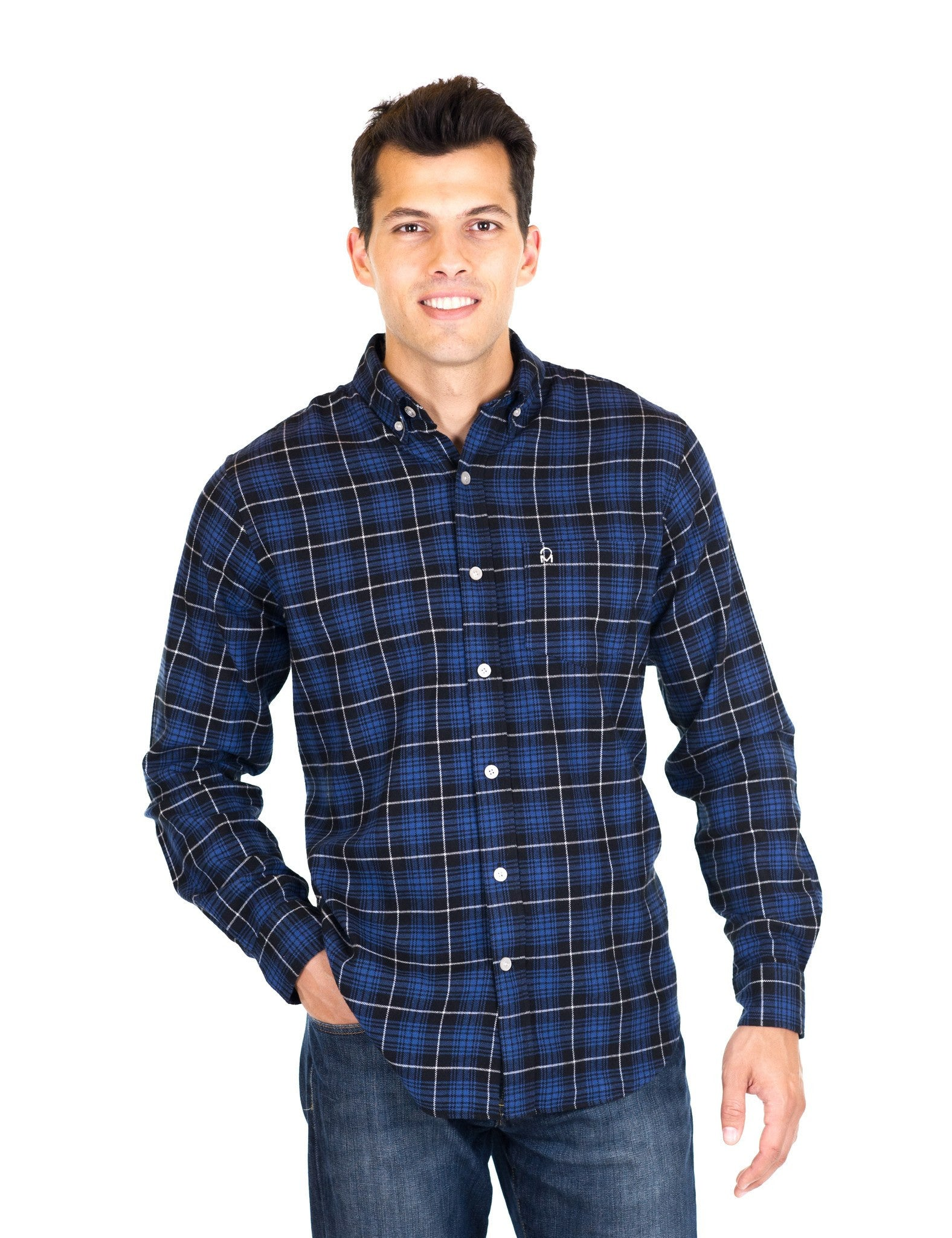 Mens 100% Cotton Flannel Shirt - Regular Fit