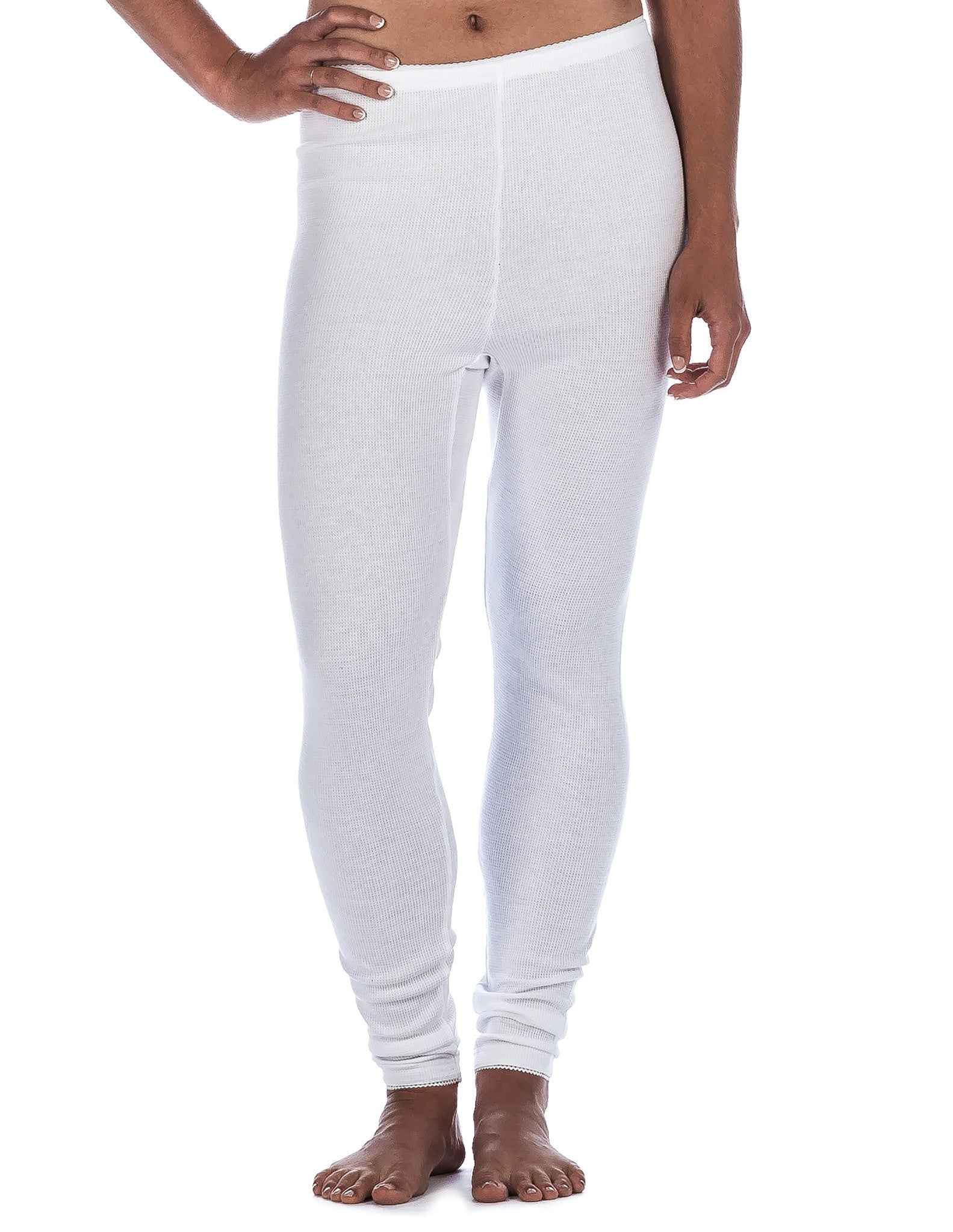 Women's Classic Waffle Knit Thermal Long John Pants