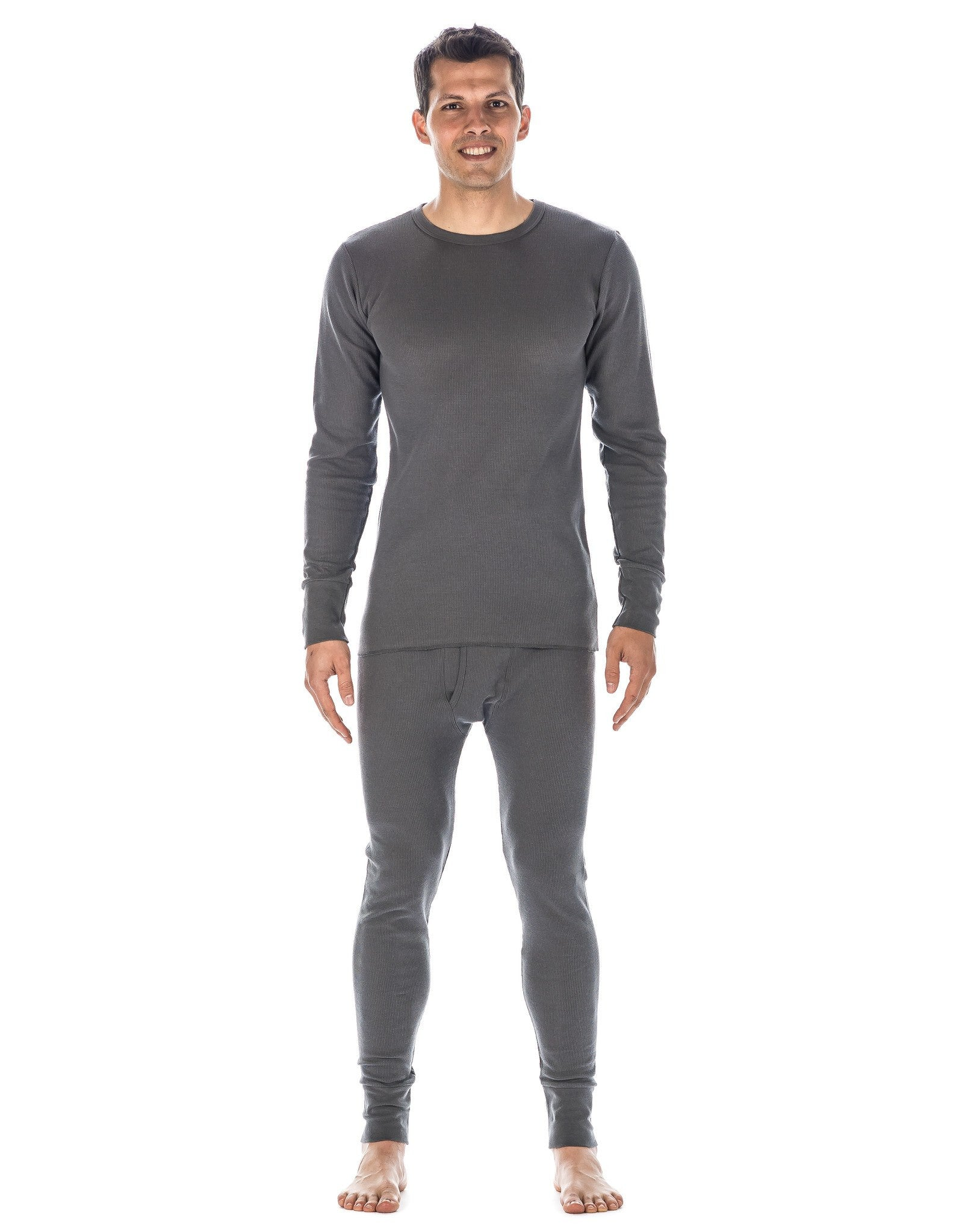 Men's Classic Waffle Knit Thermal Top and Bottom Set