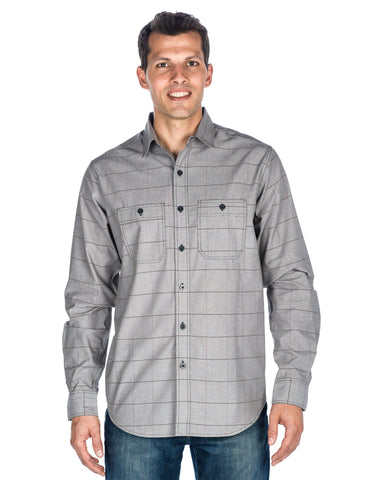 Men's Comfort-Fit Cotton Chambray Casual Shirt