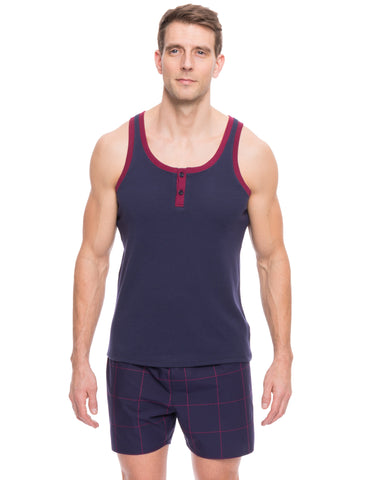 Men's Premium Cotton Boxer Tank Top Lounge Set