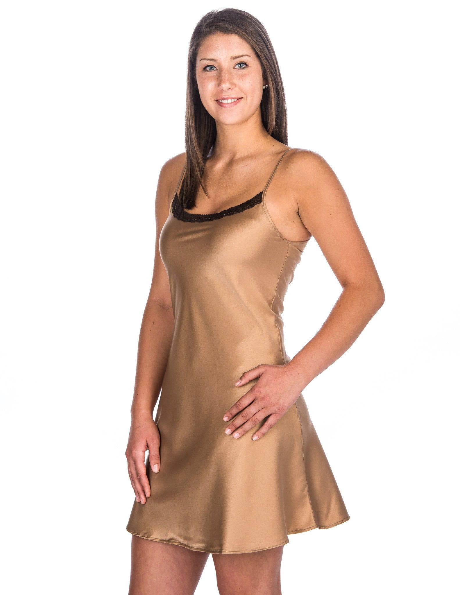 d612cd128ab Women s Premium Satin Chemise Nightgown with Lace Accent ...