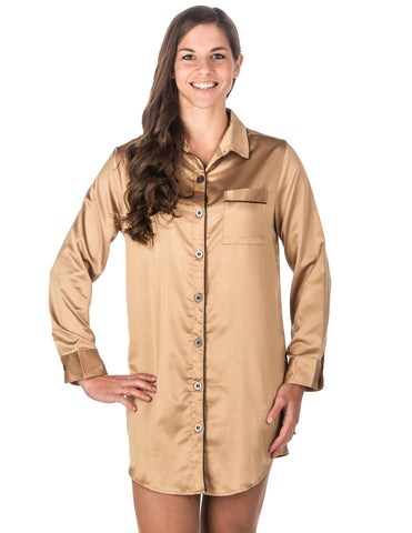 Women s Premium Satin Long Sleeve Sleep Shirt. 2 colors available. Noble  Mount d3b09c98a