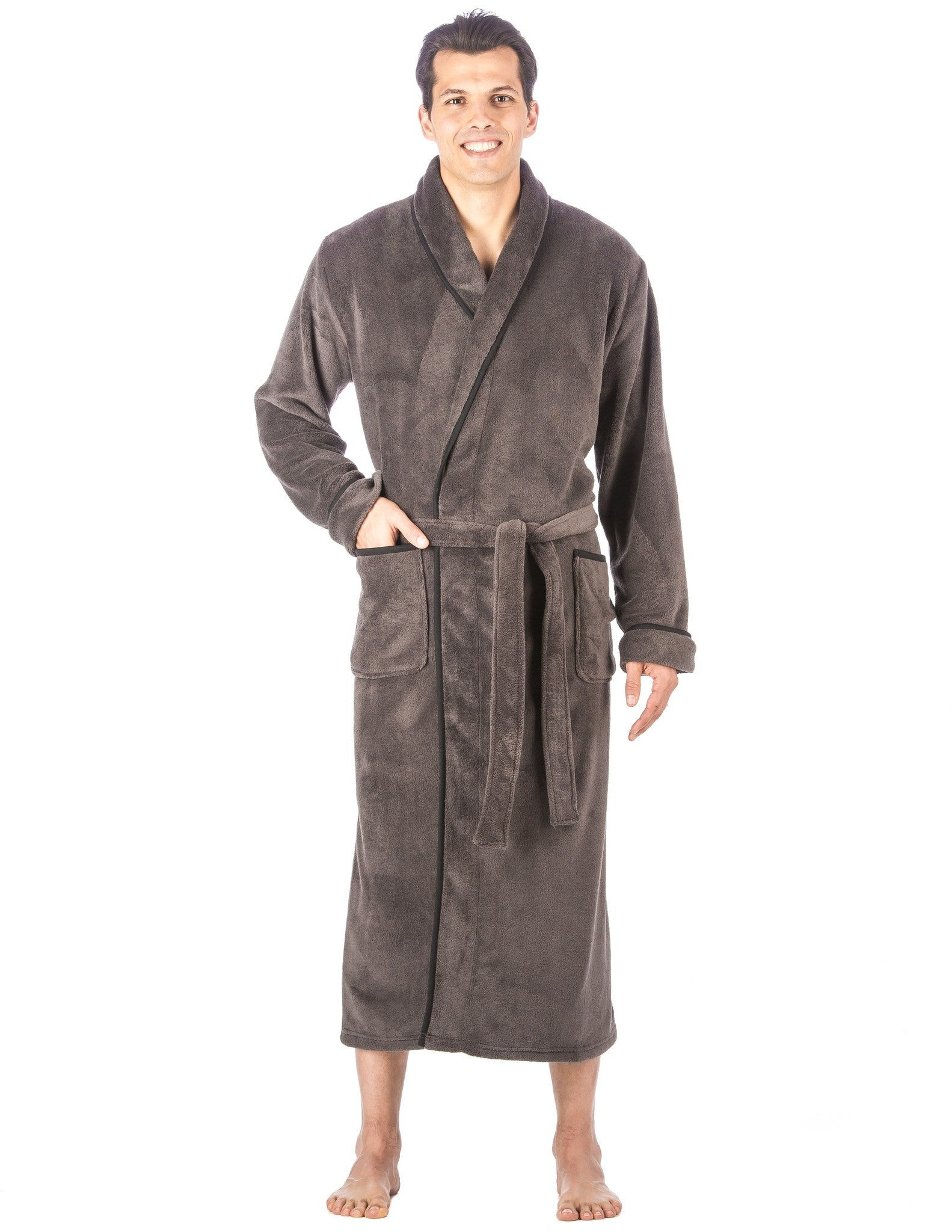 Men's Premium Coral Fleece Full Length Plush Spa/Bath Robe
