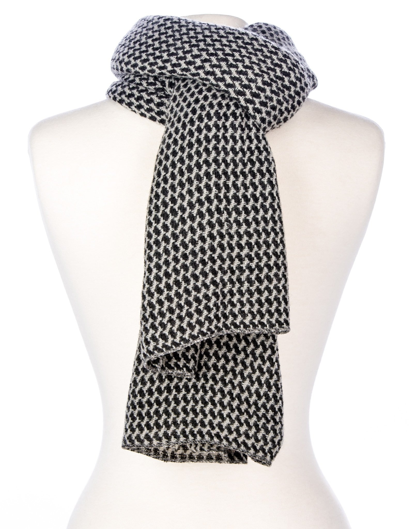 Premium Mens Scarf - Houndstooth Pattern Mufflers for Men