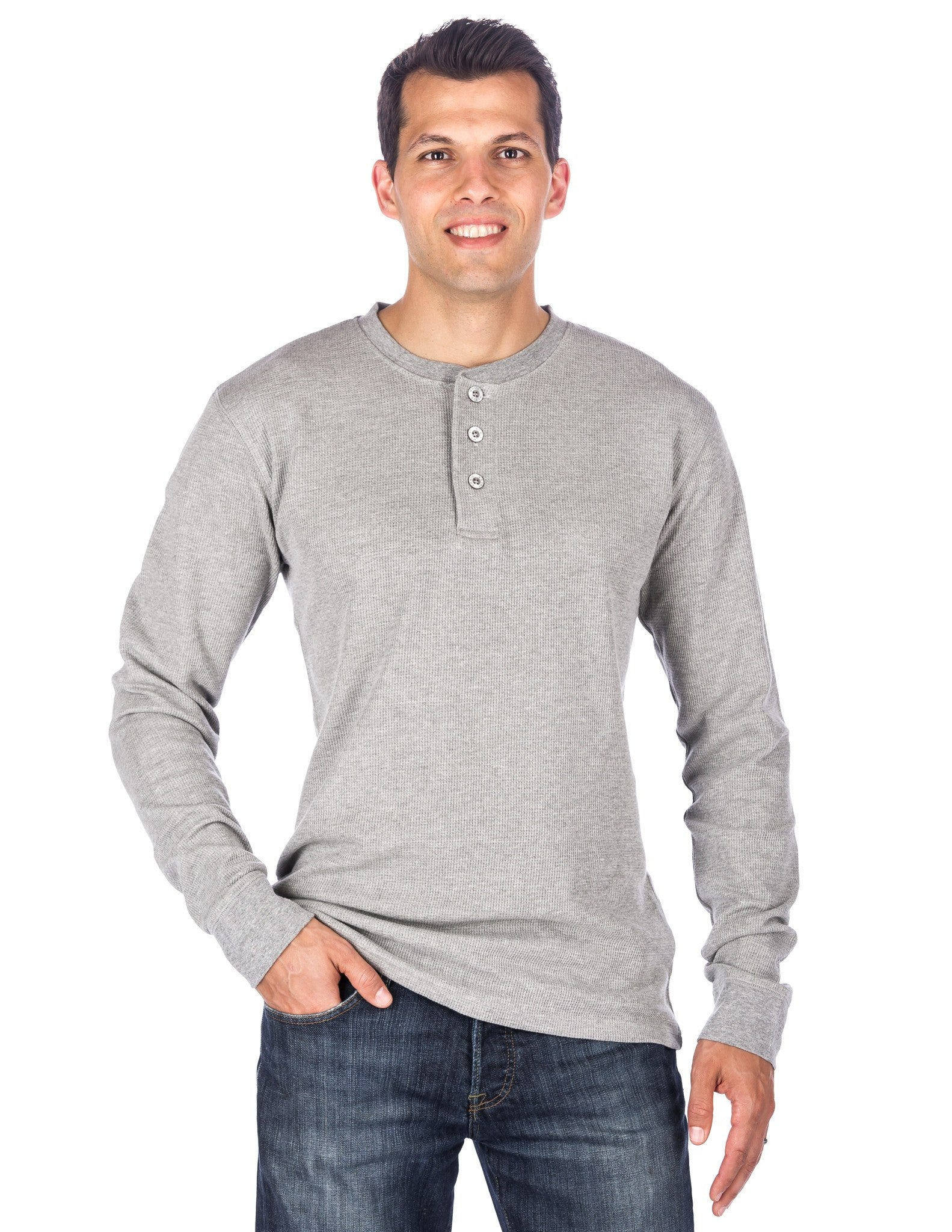Men's Solid Thermal Henley Long Sleeve T-shirts