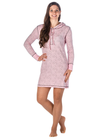 Women's Waffle Knit Thermal Sleep Hoodie