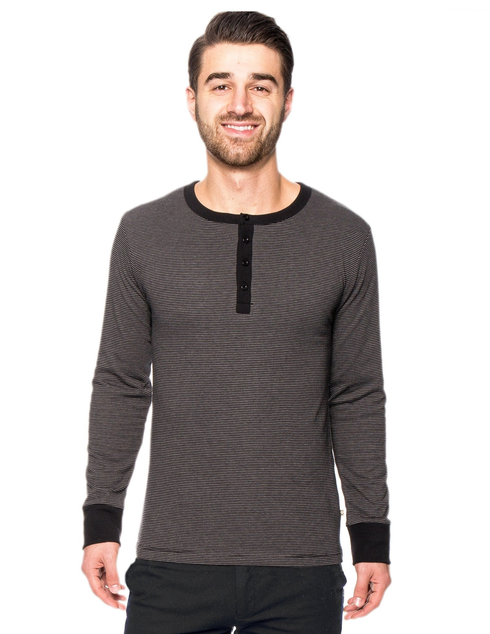 Men's Double Layer Thermal Long Sleeve Henley Top