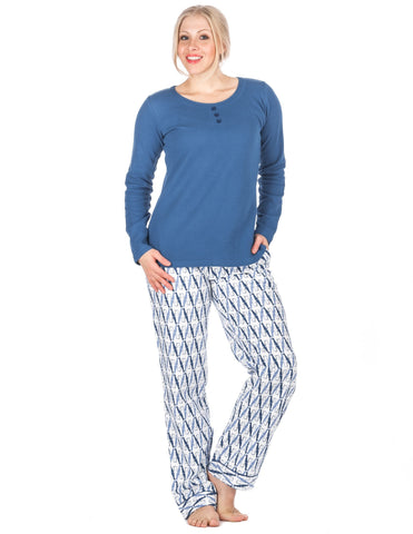 Womens Premium 100% Cotton Flannel Loungewear Set - Relaxed Fit