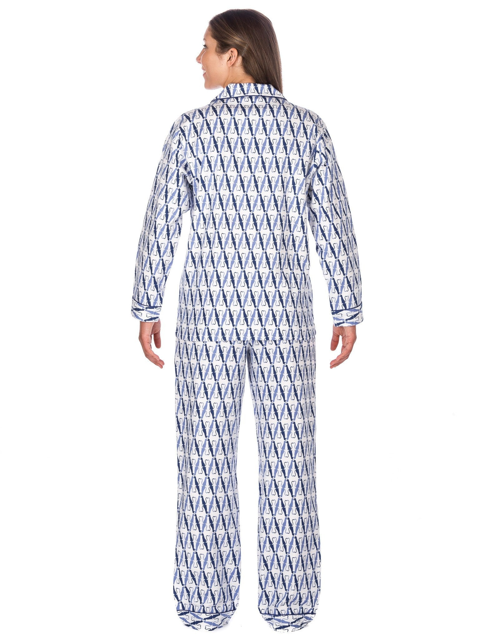 Women s Premium 100% Cotton Flannel Pajama Sleepwear Set (Relaxed Fit) Its  A Cats World - White Blue e8c5afe80