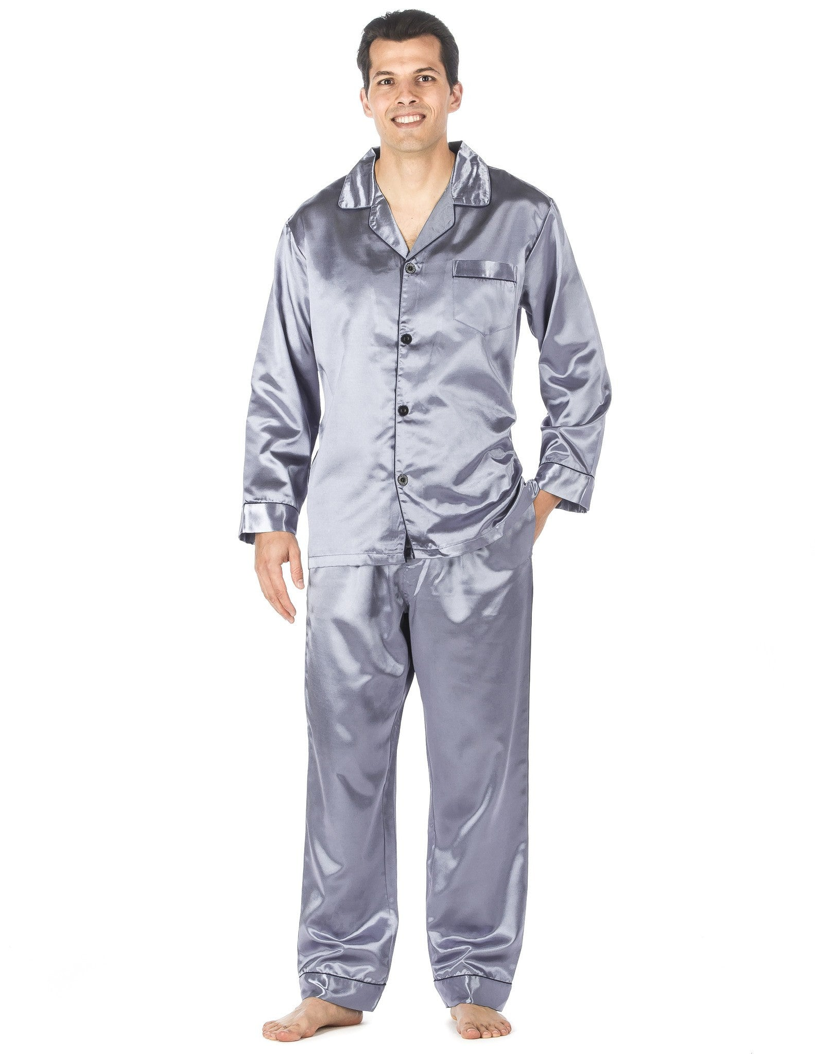 Men's pajama sets come in several fabrics and styles to fit your lifestyle. From satin to flannel, these men's pajamas give you several options to consider. Whether you want extra warmth from fleece or just something comfy, such as jersey pants, to lounge in, you'll discover a favorite pair.