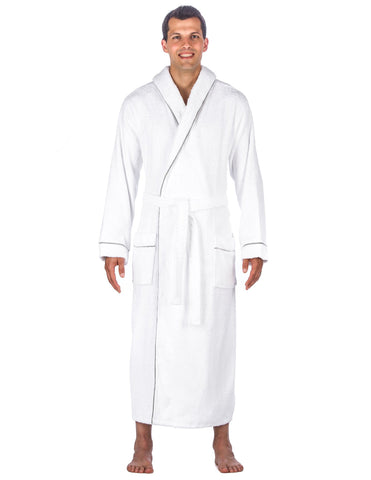 Men's 100% Cotton Terry Long Hooded Bathrobe
