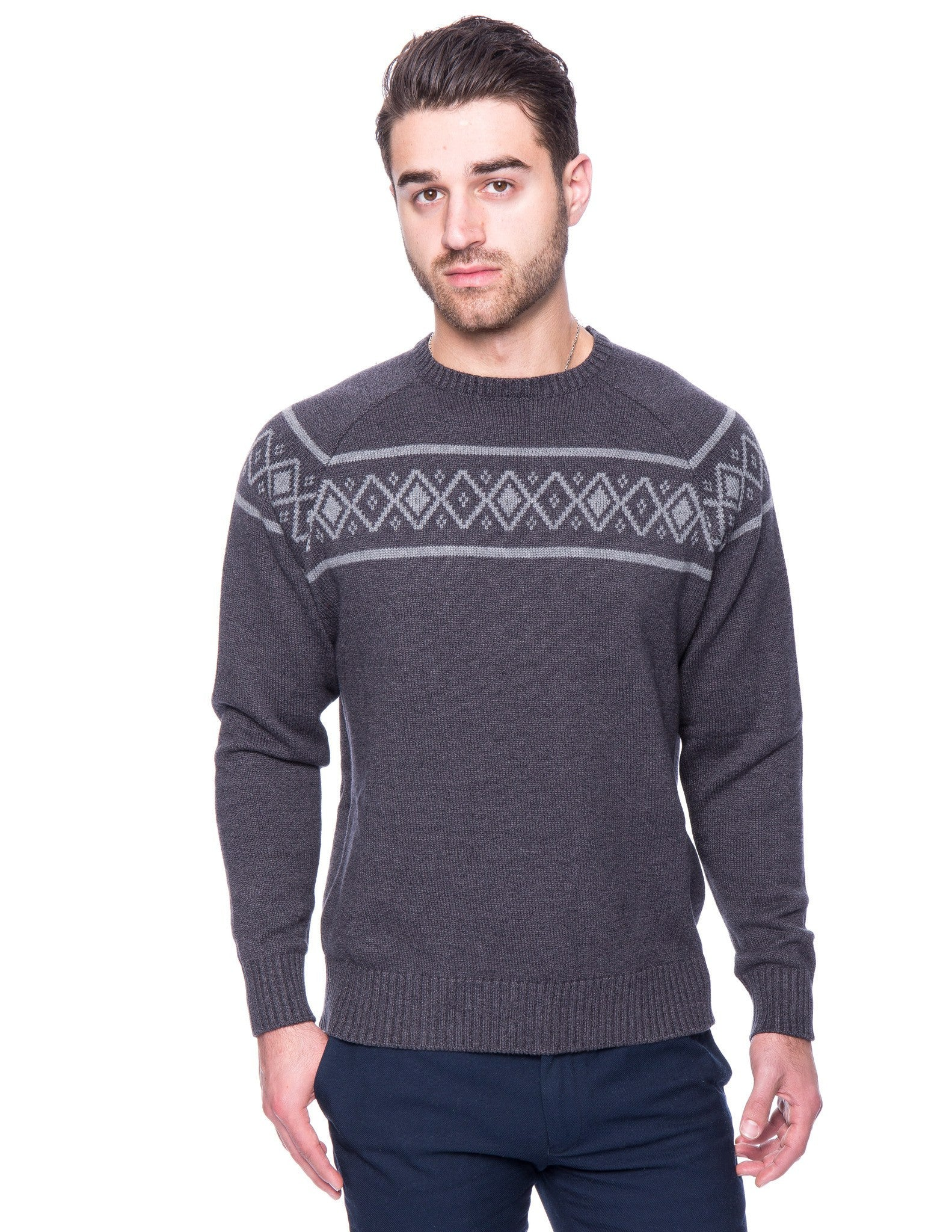Box-Packaged Tocco Reale Men's 100% Cotton Crew Neck Sweater with Fair Isle Stripe
