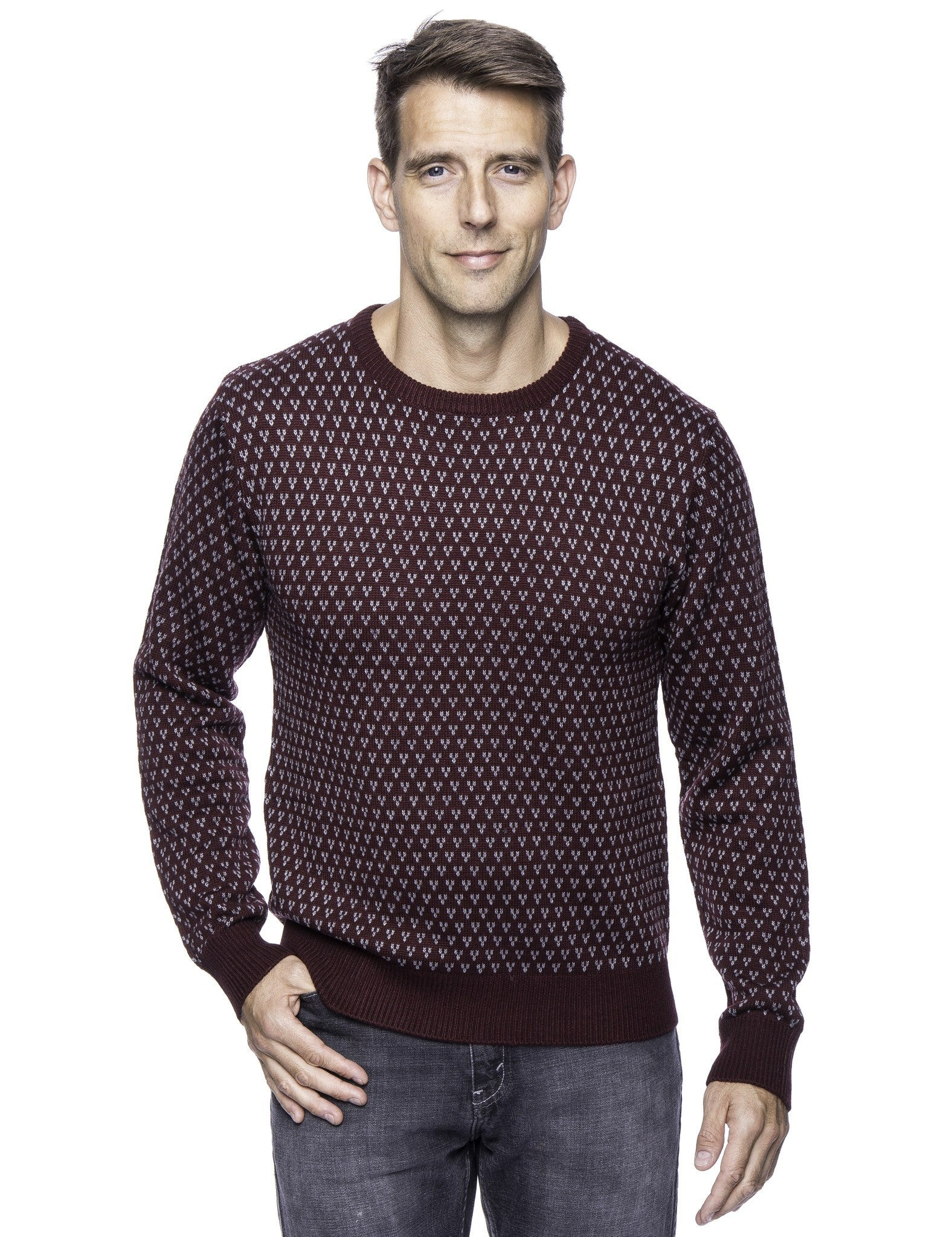 Tocco Reale Men\u0027s Wool Blend Crew Neck Pullover Sweater with Jacquard Effect