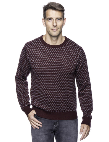 Tocco Reale Men's Wool Blend Crew Neck Pullover Sweater with Jacquard Effect
