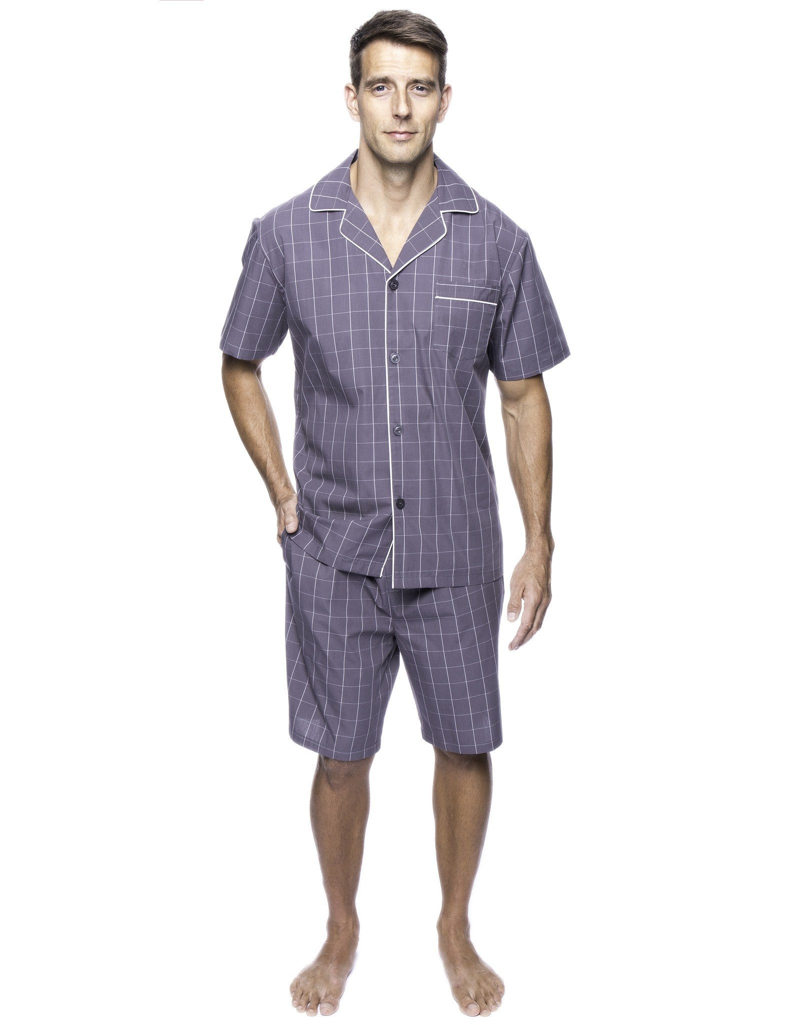 78df64f5e3fc1 Twin Boat Men's 100% Woven Cotton Short Pajama Sleepwear Set