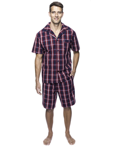 Twin Boat Men's 100% Woven Cotton Short Pajama Sleepwear Set