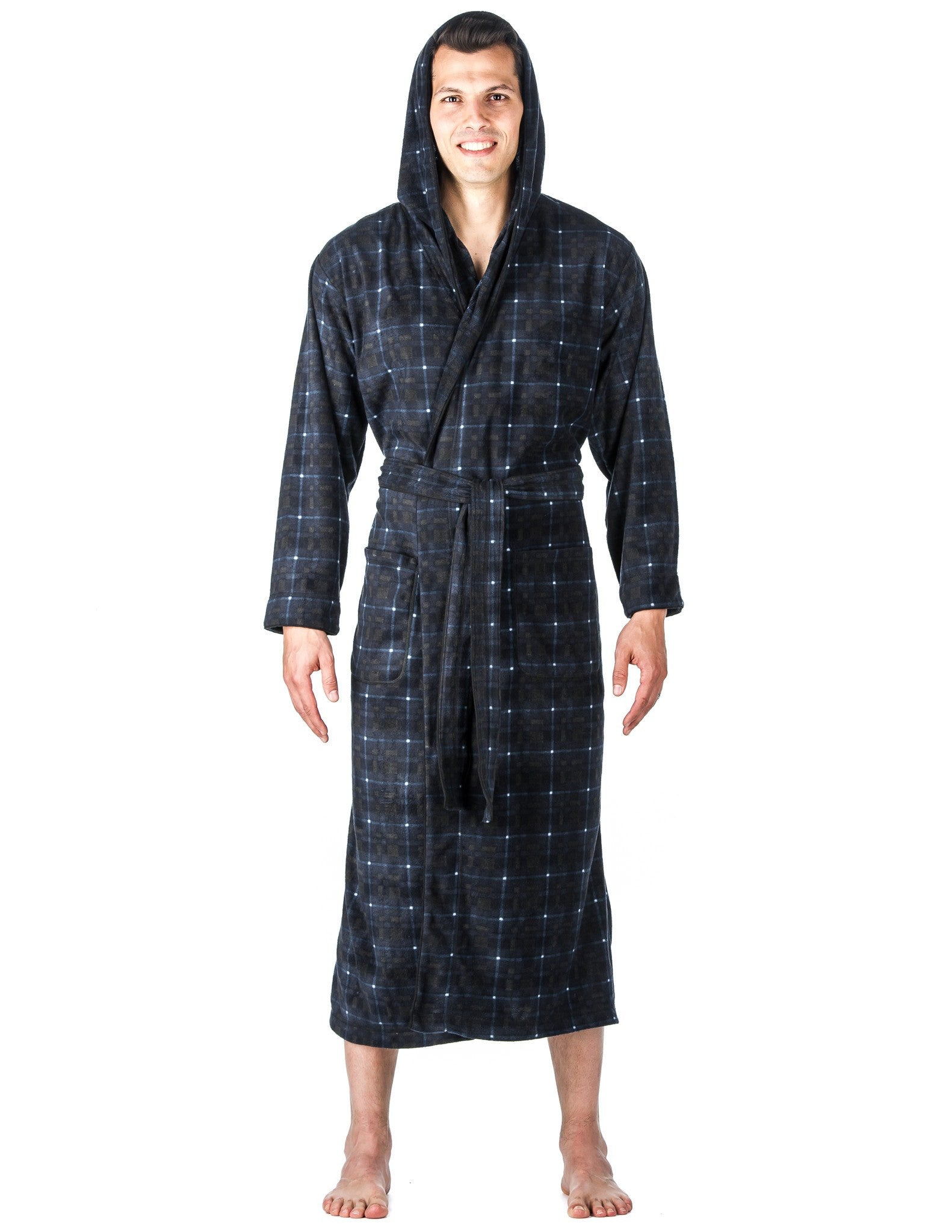 noble mount men 39 s microfleece hooded robe. Black Bedroom Furniture Sets. Home Design Ideas