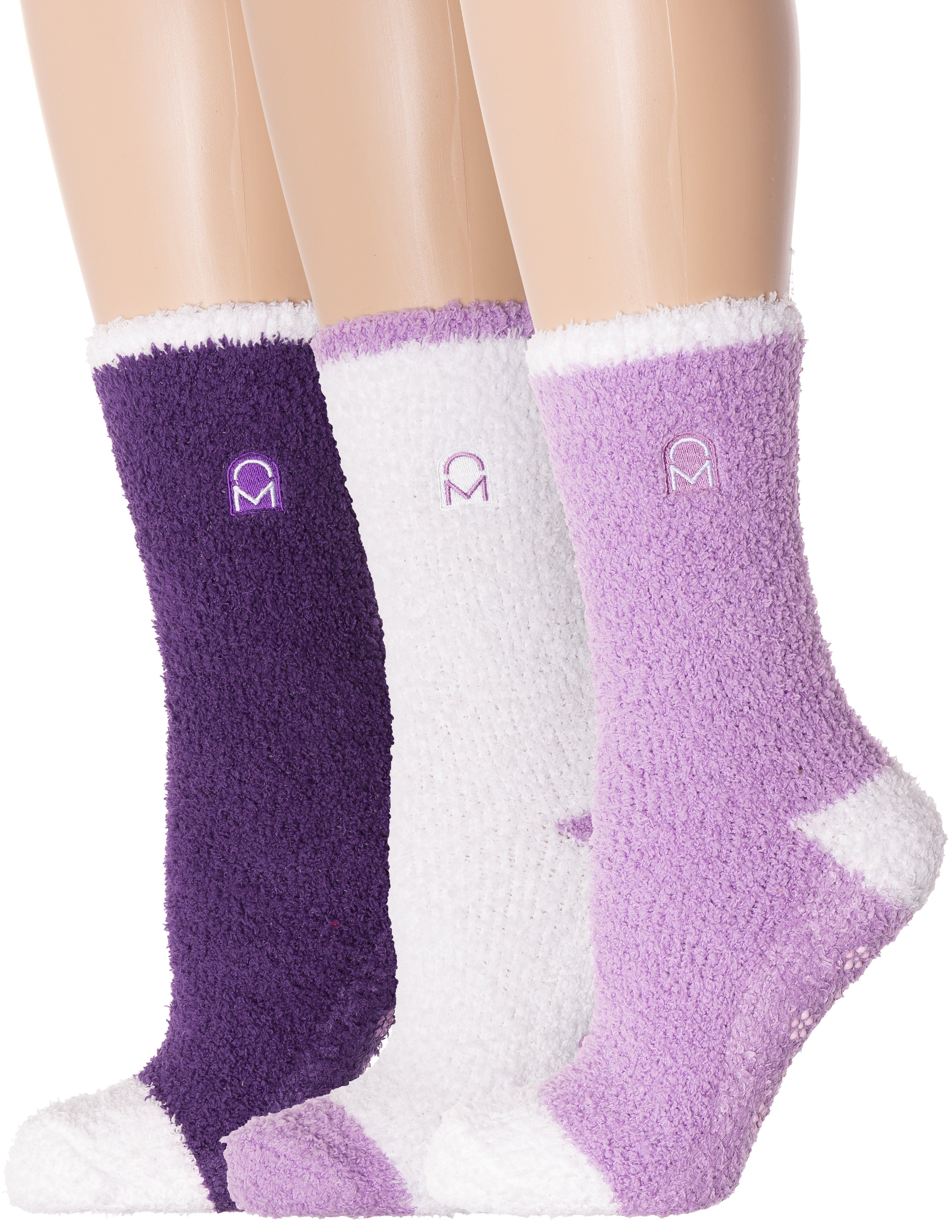 Women's (3 Pairs) Soft Anti-Skid Fuzzy Winter Crew Socks