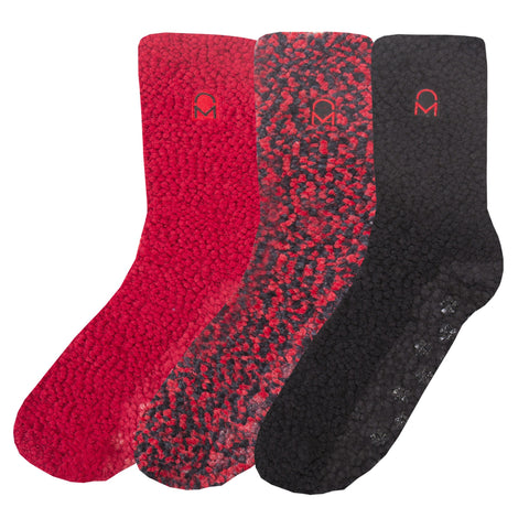 Women's Warm and Cozy Popcorn Yarn Crew Socks - 3 Pack