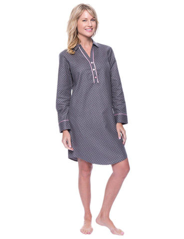 Noble Mount Womens Premium 100% Cotton Flannel Long Sleeve Sleep Shirt