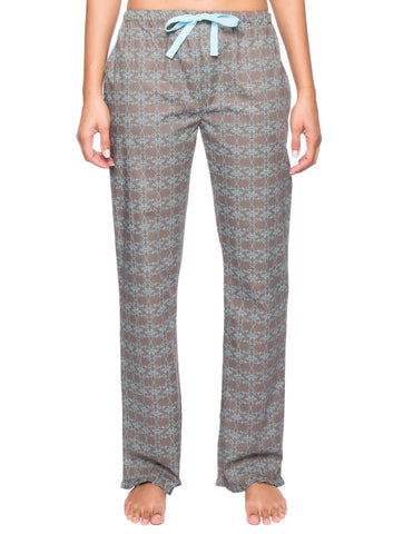 Womens Premium 100% Cotton Poplin Lounge/Sleep Pants