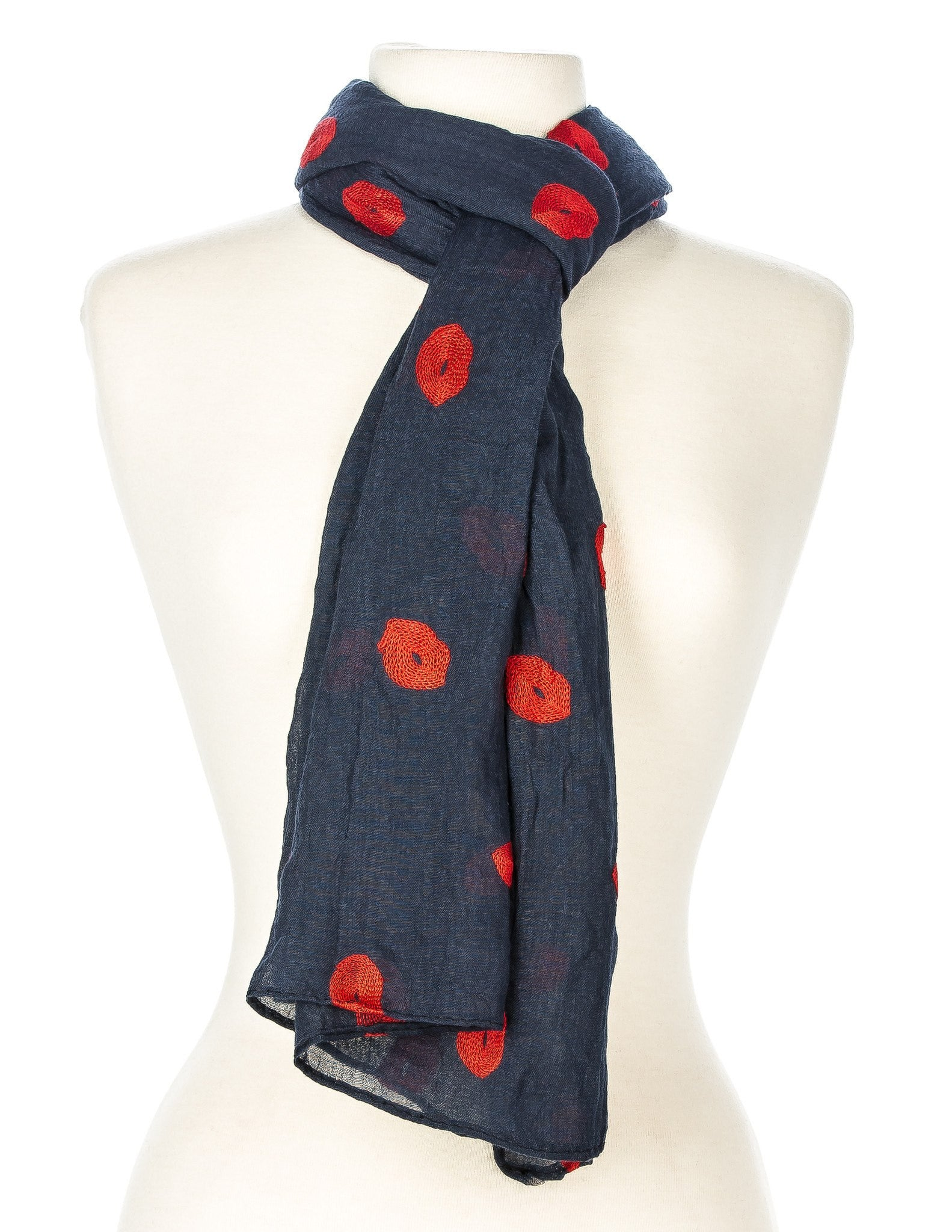 Embroidered Kisses Spring Scarf