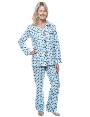 Womens 100% Cotton Flannel Pajama Sleepwear Set