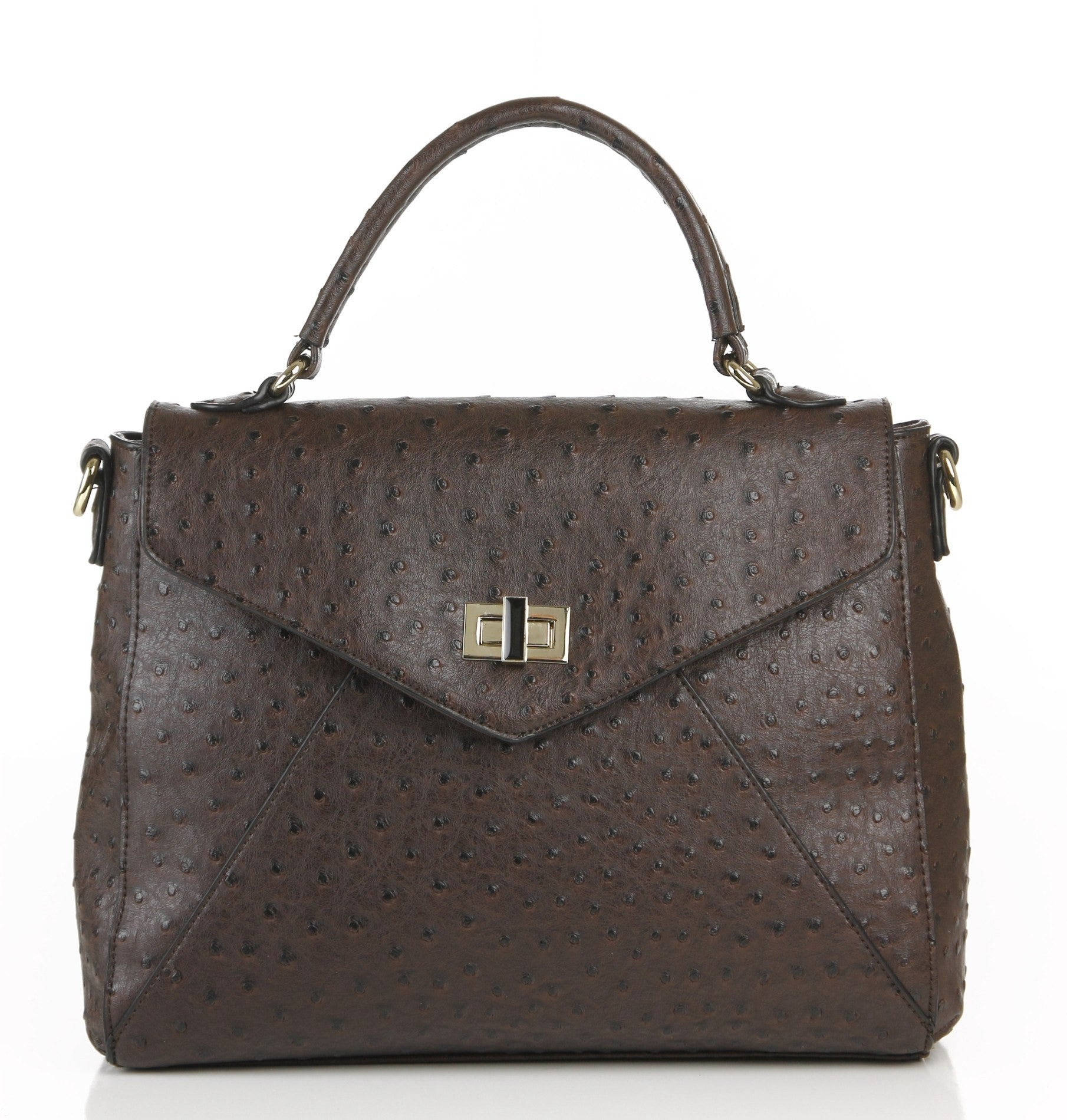 Ostrich Finish Envelope Satchel Bag