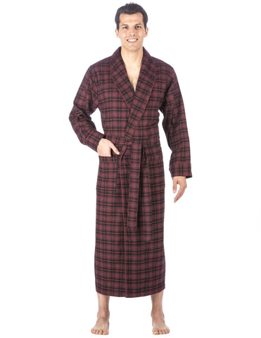 Men's Premium 100% Cotton Flannel Long Robe