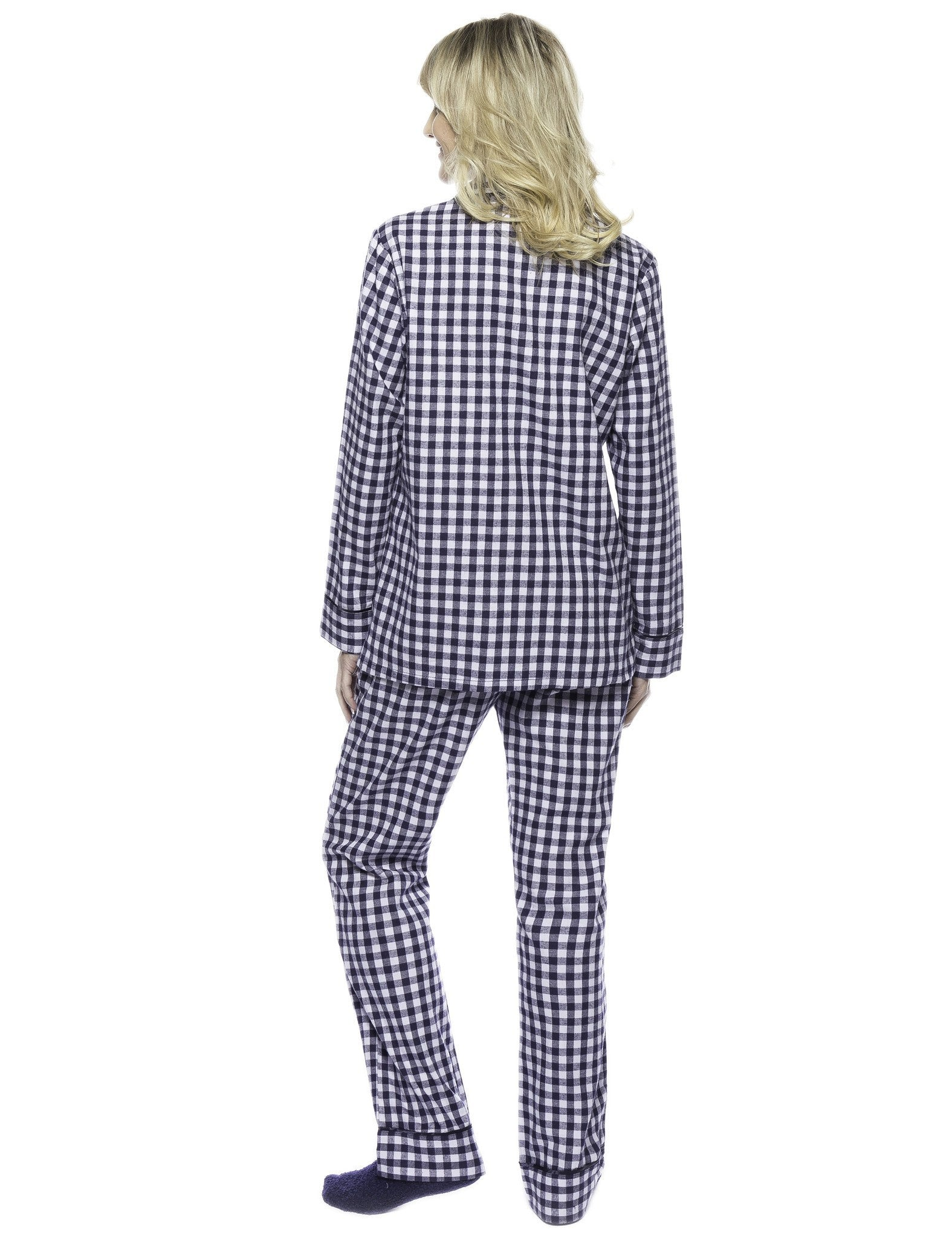 Gingham Blue/Heather  [with FREE Plush Socks]