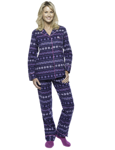 Womens Premium 100% Cotton Flannel Pajama Sleepwear Set