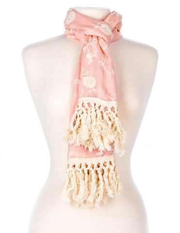 Embroidered Vine Scarf with Tassles