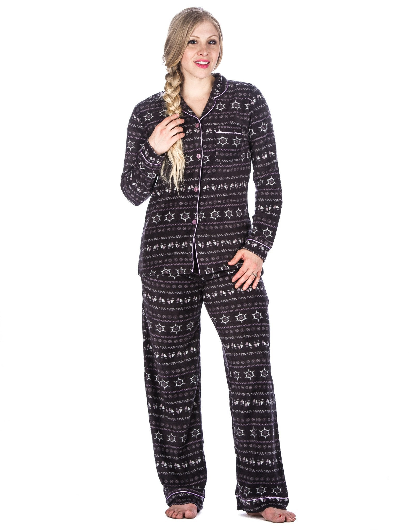 Box Packaged Women's Microfleece Pajama Sleepwear Set