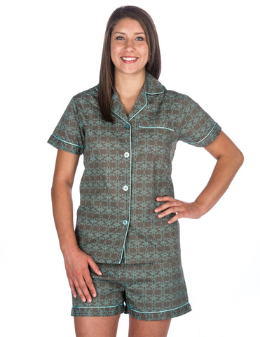Women s Premium 100% Cotton Poplin Short Pajama Set. 6 colors available. Noble  Mount 883c37dbc