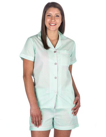 Women's Premium 100% Cotton Poplin Short Pajama Set