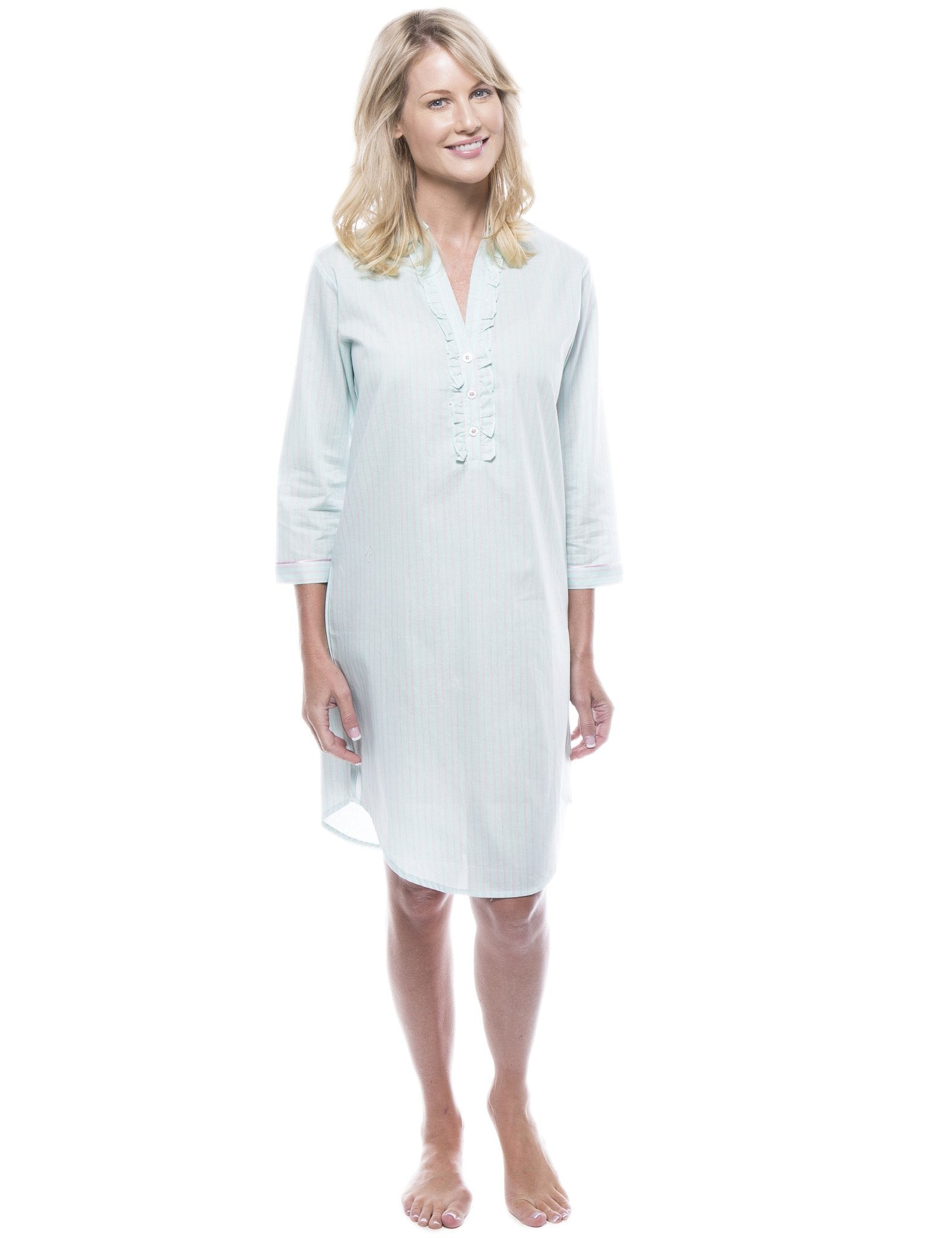 Women's 100% Cotton Poplin Long Sleeve Tunic Sleep Shirt