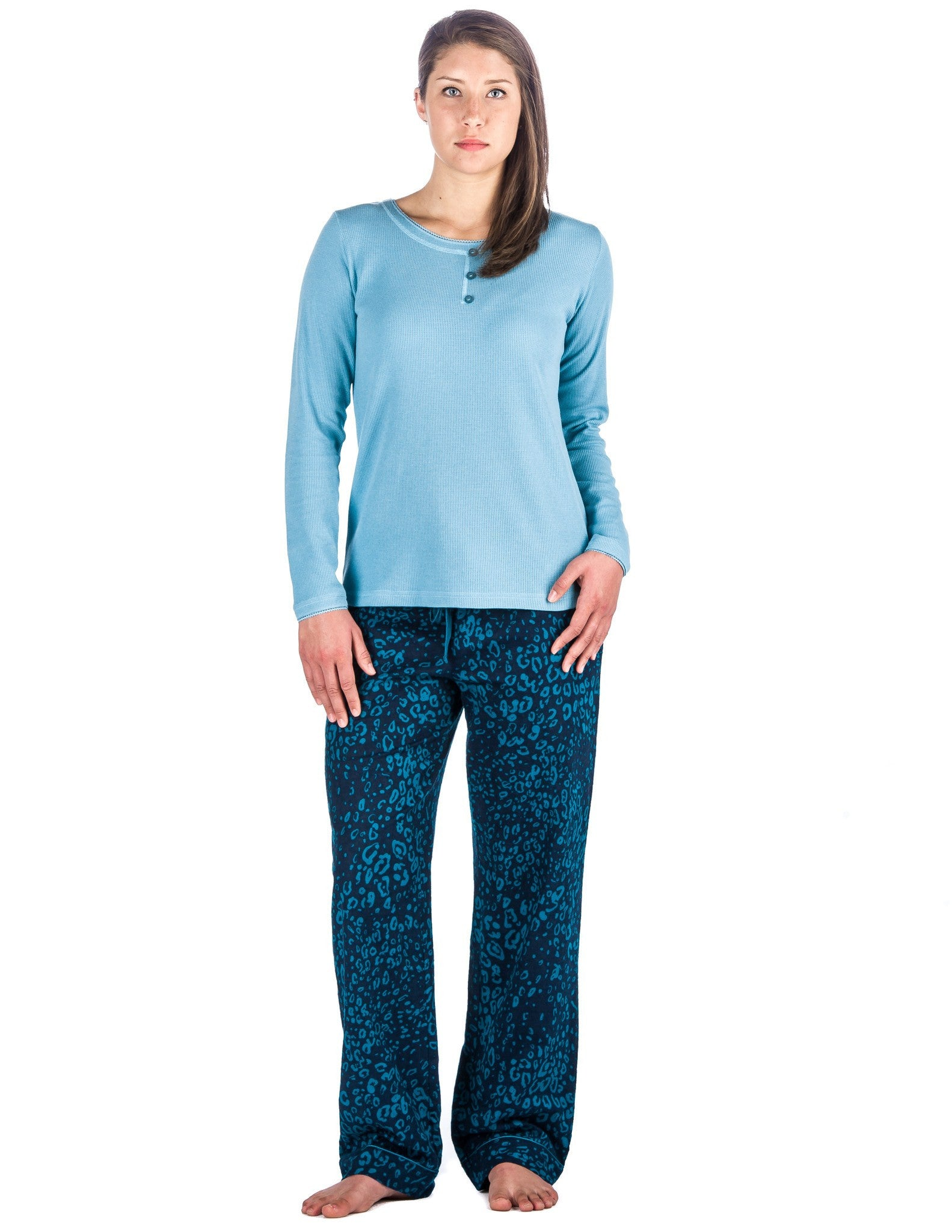 Relaxed Fit Women's Cotton Flannel Lounge Set with Crew Neck Top