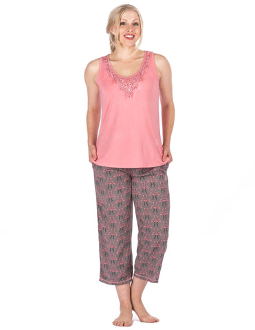 Women s Cool Breeze Woven Capri Lounge Set. 3 colors available. Noble Mount b4f82fbce