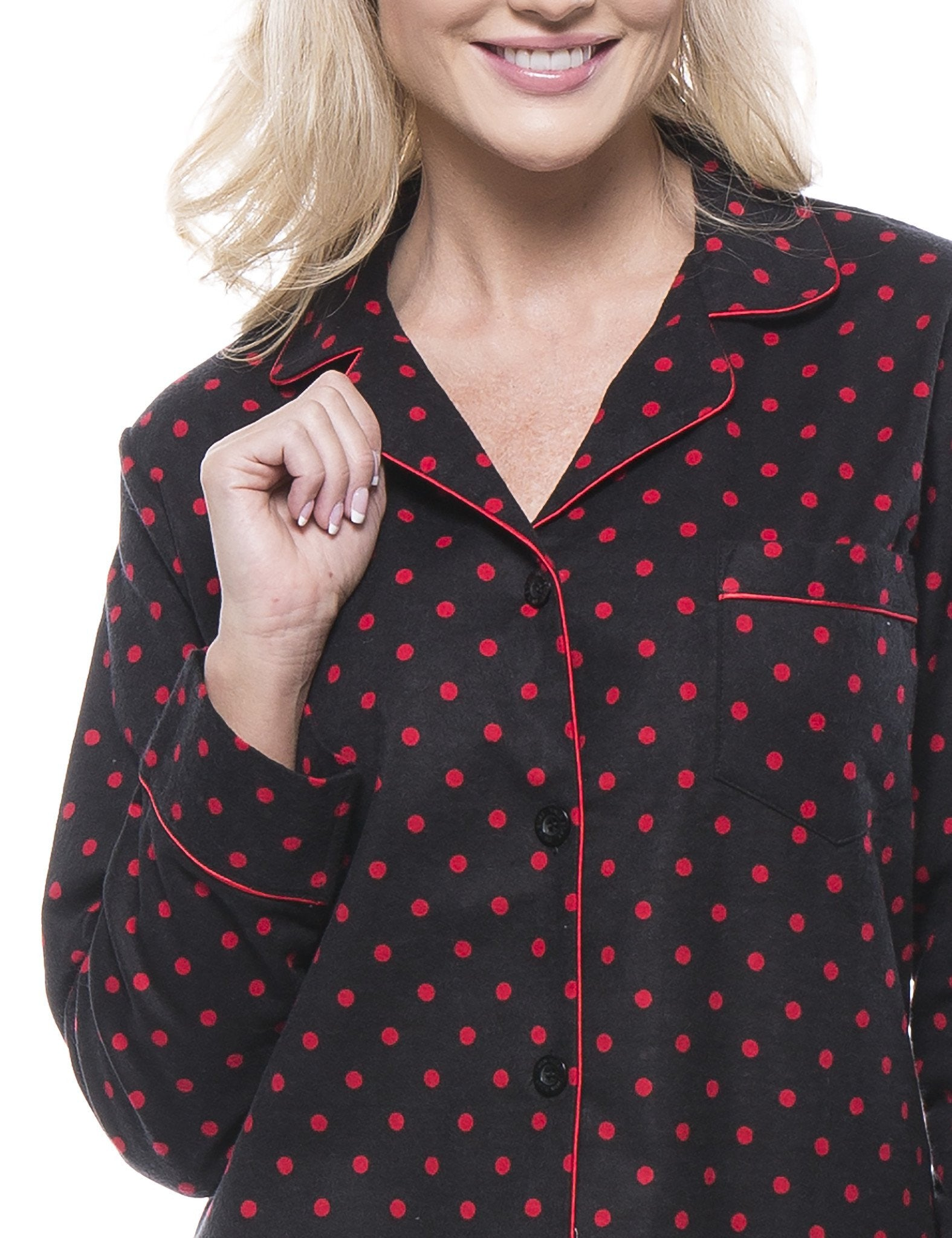 Womens 100 cotton flannel pajama sleepwear set noble mount for Womens flannel night shirts