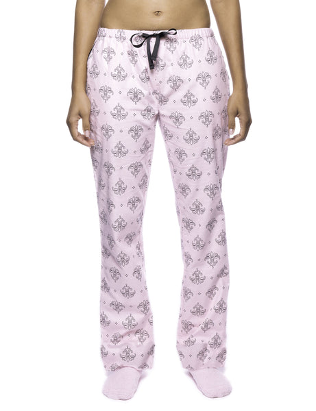 Womens Premium 100 Cotton Flannel Lounge Pants With