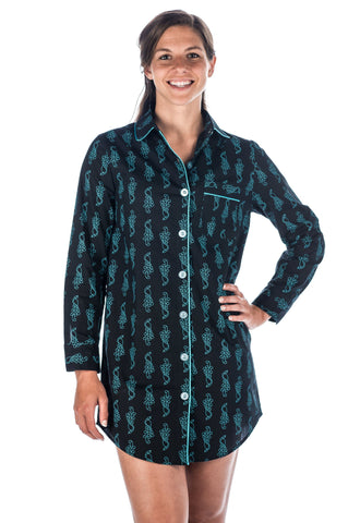 Womens Premium 100% Cotton Poplin Long Sleeve Sleep Shirt