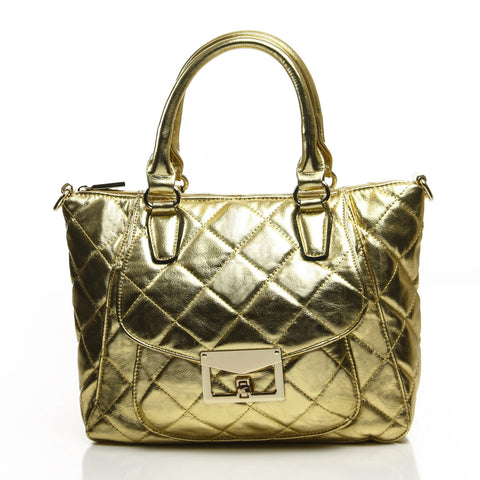 Quilted Metallic Antoinette Satchel Bag