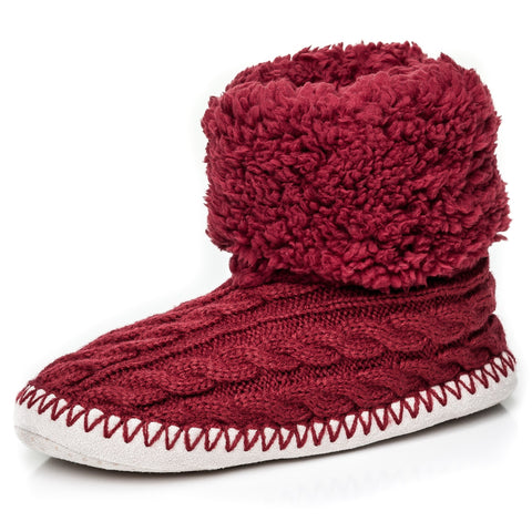 Women's Fuzzy Delight Cable Knit Indoor Short Boot Slippers