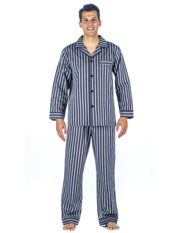 Noble Mount Mens Premium 100% Cotton Woven Pajama Sleepwear Set
