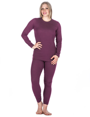 Women's Classic Waffle Knit Thermal Top and Bottom Set